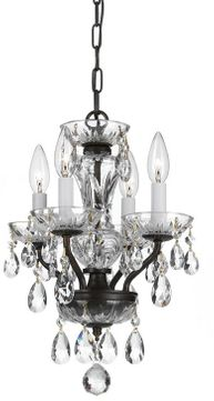 Crystorama 5534-EB-CL-I Traditional Crystal English Bronze Mini Ceiling Chandelier