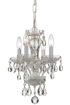 Crystorama 5534-WW-CL-I Traditional Crystal Wet White Mini Hanging Chandelier