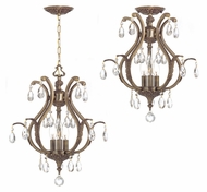 Crystorama 5560-AB-CL-MWP Dawson Convertible 16 Inch Diameter Antique Brass Traditional Ceiling & Pendant Light