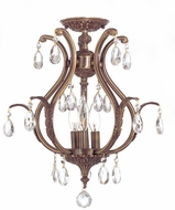Crystorama 5560-AB-CL-SAQ-CEILING Dawson Antique Brass Flush Mount Lighting Fixture