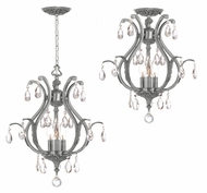 Crystorama 5560-PW-CL-MWP Dawson Convertible Pewter Finish 3 Candle Ceiling Light & Pendant