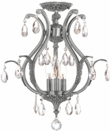 Crystorama 5560-PW-CL-S-CEILING Dawson Pewter Flush Ceiling Light Fixture