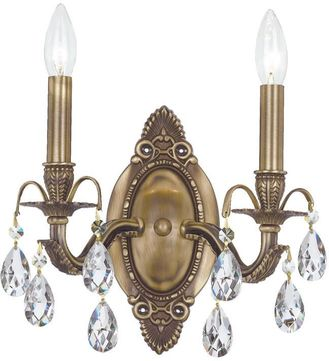 Crystorama 5562-AB-CL-S Dawson Antique Brass Candle Wall Lighting Fixture