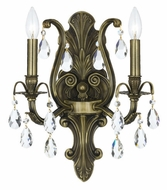 Crystorama 5563-AB-CL-MWP Dawson Antique Brass 16 Inch Tall 2 Candle Lighting Sconce