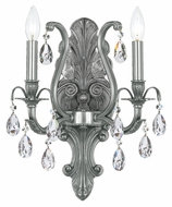 Crystorama 5563-PW-CL-MWP Dawson Pewter Clear Crystal 16 Inch Tall Candle Wall Light