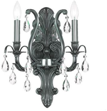 Crystorama 5563-PW-CL-SAQ Dawson Pewter Candle Light Sconce