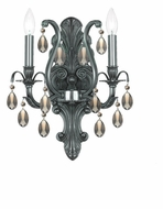 Crystorama 5563-PW-GT-MWP Dawson Pewter Golden Teak Crystal 16 Inch Tall Candle Sconce Lighting
