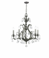 Crystorama 5565-PW-CL-MWP Dawson Pewter 26 Inch Diameter 5 Candle Lighting Chandelier
