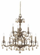 Crystorama 5569-AB-GT-MWP Dawson Golden Teak Crystal 29 Inch Diameter Brass Candle Chandelier