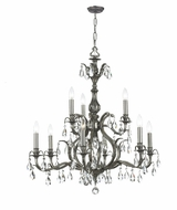 Crystorama 5569-PW-CL-MWP Dawson Clear Crystal 29 Inch Diameter Pewter 9 Candle Chandelier