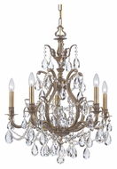 Crystorama 5575-AB-CL-MWP Dawson Antique Brass 5 Candle Clear Crystal Hanging Chandelier