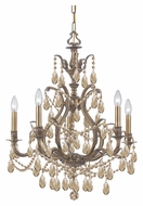 Crystorama 5575-AB-GT-MWP Dawson 26 Inch Diameter Antique Brass Golden Teak Candelabra Chandelier