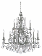 Crystorama 5579-PW-CL-MWP Dawson Pewter 29 Inch Diameter 9 Candle Hanging Chandelier