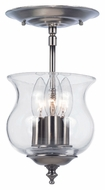 Crystorama 5715-PW Ascott 6 Inch Diameter Pewter 3 Candle Semi Flush Mount Ceiling Light