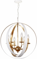 Crystorama 585-MT-GA Luna Matte White / Antique Gold Ceiling Chandelier
