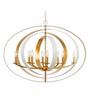 Crystorama 588-MT-GA Luna Matte White / Antique Gold Lighting Chandelier