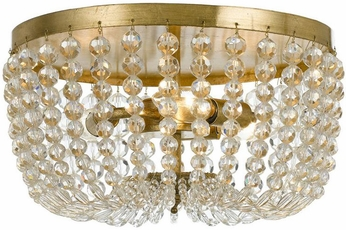 Crystorama 600-GA Rylee Antique Gold Hand Cut Faceted Beads Ceiling Light Fixture