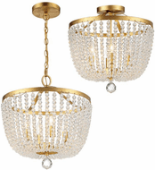 Crystorama 604-GA_CEILING Rylee Antique Gold Convertible Ceiling Light Fixture / Hanging Light