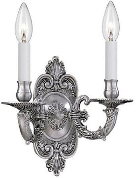 Crystorama 642-PW Cast Brass Wall Mount Traditional Pewter Candle Lighting Sconce