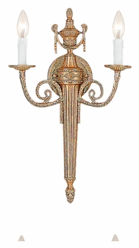 Crystorama 662-MB Arlington Matte Brass 12 Inch Wide 2 Candle Sconce Lighting