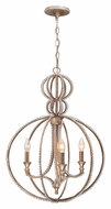 Crystorama 6765-DT Garland 18 Inch Diameter Traditional 3 Candle Distressed Twilight Finish Hanging Light