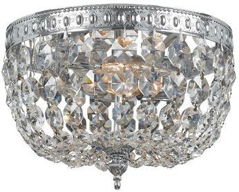 Crystorama 708-CH-CL-MWP Ceiling Mount Polished Chrome 8 Flush Ceiling Light Fixture
