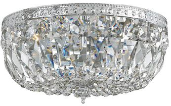 Crystorama 714-CH-CL-S Ceiling Mount Polished Chrome 14 Flush Mount Ceiling Light Fixture
