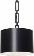 Crystorama 8683-MK-WH Alston Contemporary Matte Black + White 12  Drum Pendant Light Fixture