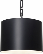 Crystorama 8686-MK-WH Alston Modern Matte Black 20  Drum Pendant Lighting Fixture