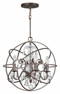 Crystorama 9025-EB-CL-MWP Solaris English Bronze 17 Inch Diameter Clear Crystal Ball Cage Pendant Lamp