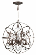 Crystorama 9026-EB-CL-MWP Solaris Medium 22 Inch Diameter English Bronze Clear Crystal Pendant Lamp