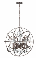 Crystorama 9028-EB-CL-MWP Solaris Large Modern Clear Crystal English Bronze 28 Inch Diameter Pendant Hanging Lamp