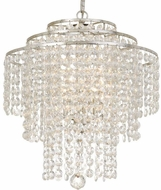 Crystorama ARI-304-SA-CL-MWP Arielle Antique Silver Mini Hanging Chandelier