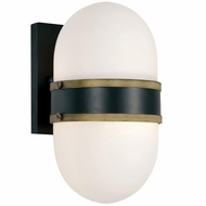Crystorama CAP-8501-MK-TG Capsule Modern Matte Black / Textured Gold Exterior Wall Sconce Lighting