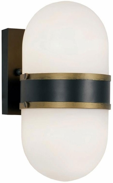 Crystorama CAP-8502-MK-TG Capsule Contemporary Matte Black / Textured Gold Outdoor Wall Mounted Lamp