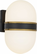 Crystorama CAP-8504-MK-TG Capsule Contemporary Matte Black + Textured Gold Outdoor Lamp Sconce