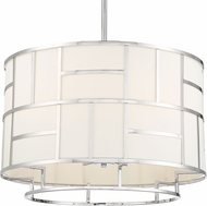 Crystorama DAN-406-PN Danielson Contemporary Polished Nickel 25  Drum Ceiling Pendant Light