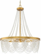 Crystorama FIO-A9104-GA-WH Fiona Antique Gold Ceiling Chandelier