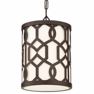 Crystorama JEN-2205-DB Jennings Contemporary Dark Bronze Outdoor Drum Drop Ceiling Light Fixture