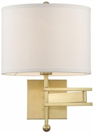 Crystorama MAR-A8031-AG Marshall Aged Brass Wall Swing Arm Lamp