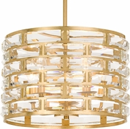 Crystorama MER-4865-GA Meridian Antique Gold 15  Drum Pendant Lamp