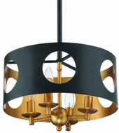 Crystorama ODE-700-BK-GA Odelle Modern Black and Antique Gold Pendant Lamp