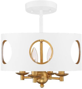 Crystorama ODE-700-MT-GA-CEILING Odelle Contemporary Matte White and Antique Gold Overhead Lighting Fixture