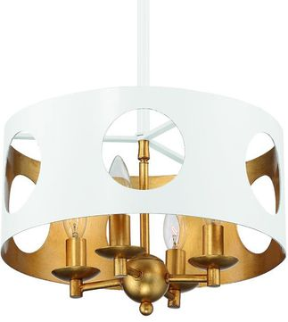 Crystorama ODE-700-MT-GA Odelle Modern Matte White and Antique Gold Hanging Lamp