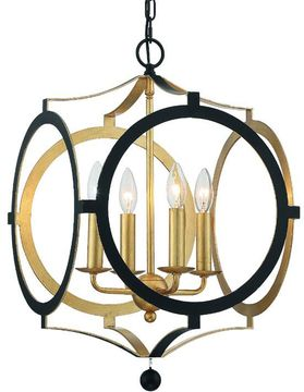 Crystorama ODE-704-BK-GA Odelle Contemporary Black and Antique Gold Hanging Light