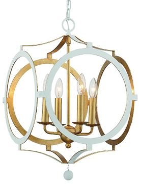 Crystorama ODE-704-MT-GA Odelle Modern Matte White and Antique Gold Pendant Light Fixture