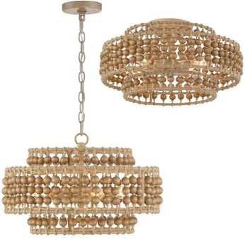Crystorama SIL-B6003-BS Silas Contemporary Burnished Silver Convertible Hanging Light Fixture / Ceiling Light Fixture
