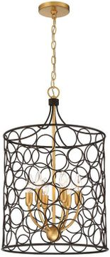 Crystorama STM-B5106-BZ-GA Stemmons Contemporary Bronze and Antique Gold Entryway Light Fixture