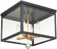 Crystorama WES-9900-BK-GA Weston Black and Antique Gold Flush Mount Ceiling Light Fixture