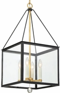 Crystorama WES-9905-BK-GA Weston Black and Antique Gold 14  Hanging Pendant Light